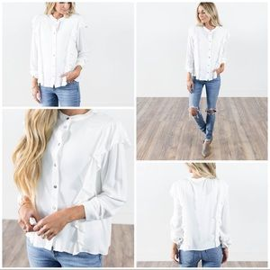 Tops - Ruffle accent button up white blouse size m/l